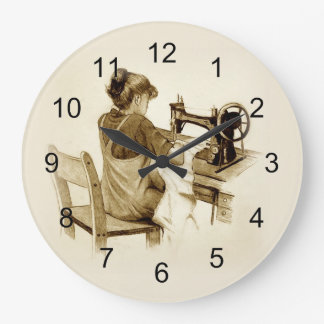 Sewing on Old Fashioned Sewing Machine: Pencil Art Wallclock