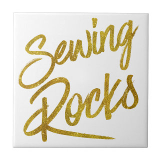 Sewing Rocks Gold Faux Foil Metallic Glitter Quote Tile