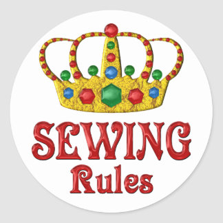 SEWING RULES CLASSIC ROUND STICKER
