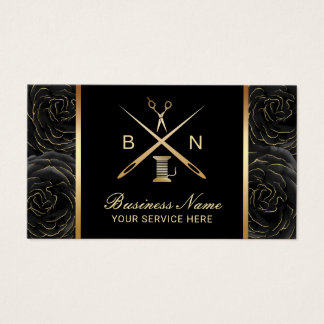 Sewing Seamstress Thread & Needles Black Floral Business Card