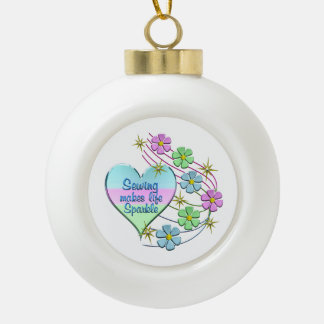 Sewing Sparkles Ceramic Ball Christmas Ornament