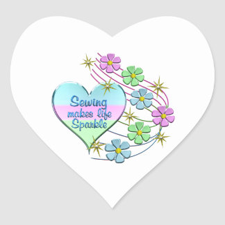 Sewing Sparkles Heart Sticker