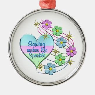Sewing Sparkles Metal Ornament