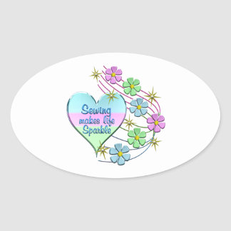 Sewing Sparkles Oval Sticker