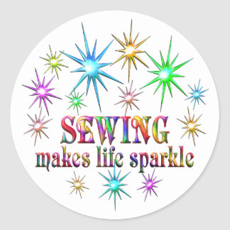 Sewing Sparkles Round Sticker