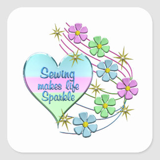 Sewing Sparkles Square Sticker