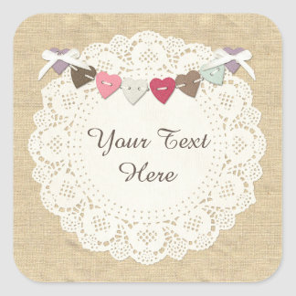 Sewing Stitches on Rustic Country Burlap & Hearts Square Sticker