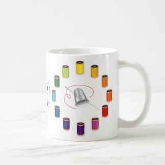 Sewing Thimble, Needle and Threads Do It Yourself Basic White Mug