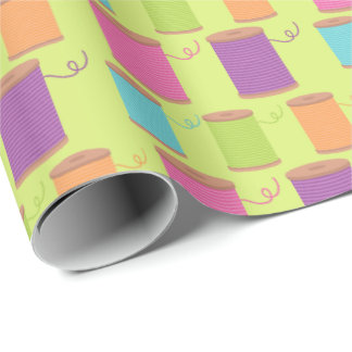 Sewing thread pattern wrapping paper
