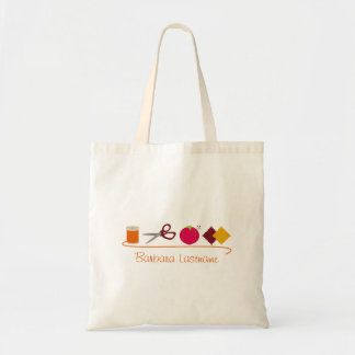 Sewing - Thread, Scissors, Pin Cushion, Fabric Tote Bag