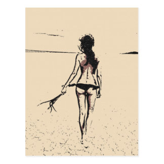 Sexy at the beach, hot bikini girl artistic sketch postcard