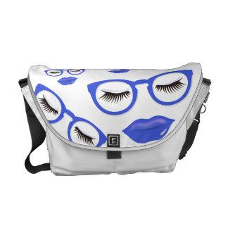 Sexy Blue Glasses Medium Messenger Bag