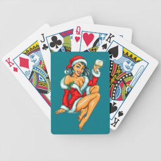 sexy Christmas pinup girl Bicycle Playing Cards