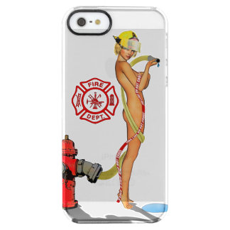 Sexy Firefighter PinUp Clear iPhone SE/5/5s Case