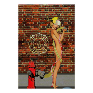 Sexy Firefighter PinUp Poster