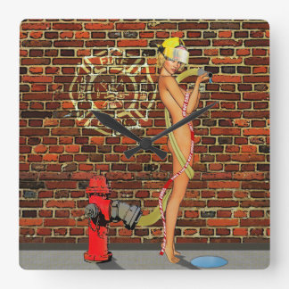 Sexy Firefighter PinUp Wall Clock