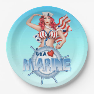 """SEXY MARINE Paper Plates 9"""" 9 Inch Paper Plate"""