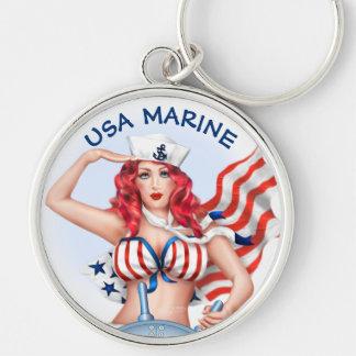 SEXY MARINE USA BUTTON  Premium Round Keychain L