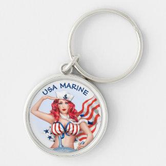 SEXY MARINE USA BUTTON  Premium Round Keychain S