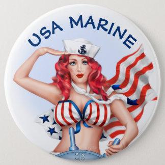 SEXY MARINE USA CARTOON  Button Colossal, 6 Inch
