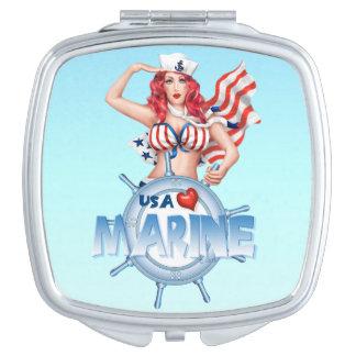 SEXY MARINE USA  compact mirror SQUARE