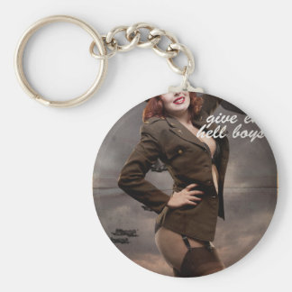 Sexy officer of the American forces in World War I Basic Round Button Keychain