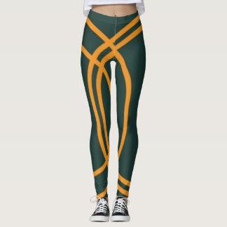 Sexy orange stripes green leggings