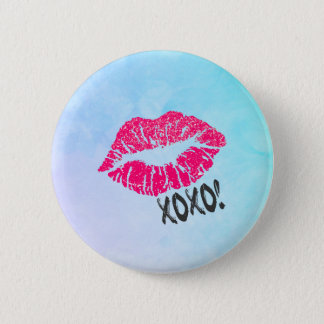Sexy Pink Kissy Lips with xoxo! 2 Inch Round Button