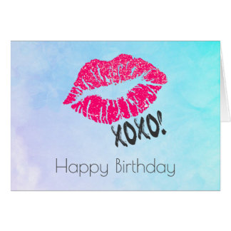 Sexy Pink Kissy Lips with xoxo! Birthday Card