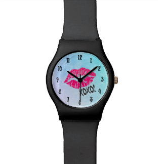 Sexy Pink Kissy Lips with xoxo! Blue Watercolor Watches