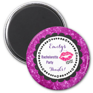 Sexy Pink Kissy Lips with xoxo! Faux Pink Glitter 2 Inch Round Magnet