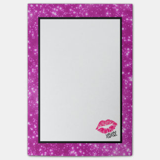 Sexy Pink Kissy Lips with xoxo! Faux Pink Glitter Post-it Notes
