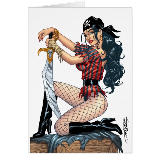 Sexy Pirate Pin-up Girl Customizable by Al Rio Greeting Card