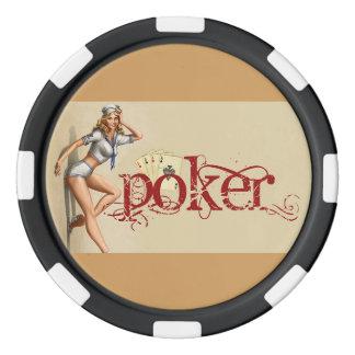 Sexy poker woman poker chips
