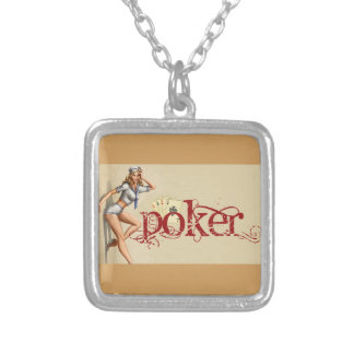 Sexy poker woman silver plated necklace
