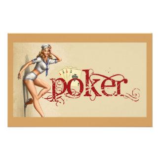 Sexy poker woman stationery