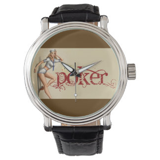 Sexy poker woman watches