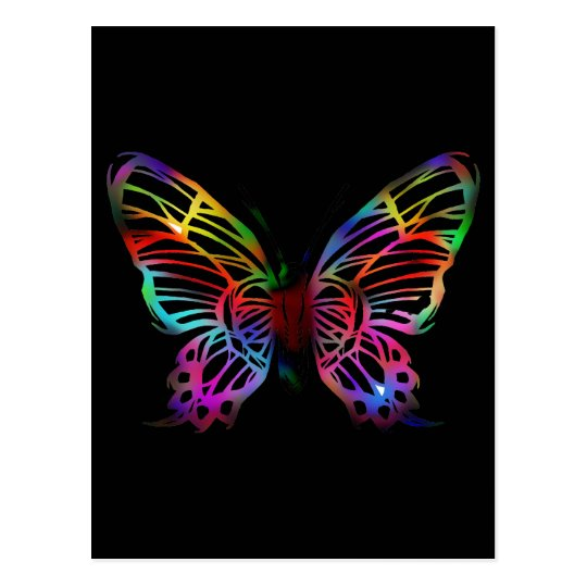SEXY RAINBOW BUTTERFLY PATTERN POSTCARD