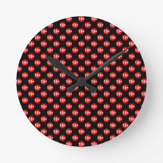 Sexy red and black polka dot round clock