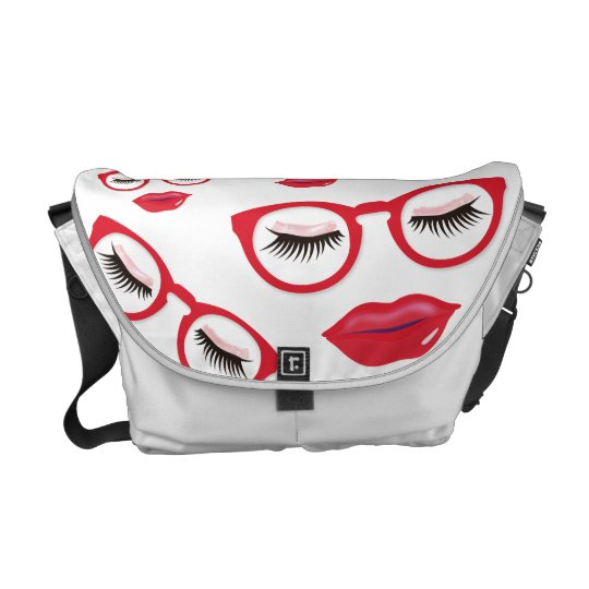Sexy Red Glasses Medium Messenger Bag