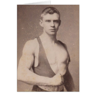 Sexy Vintage Male Weightlifter Card
