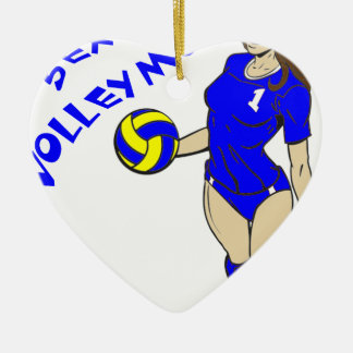 SEXY VOLLEY MOM CERAMIC HEART ORNAMENT