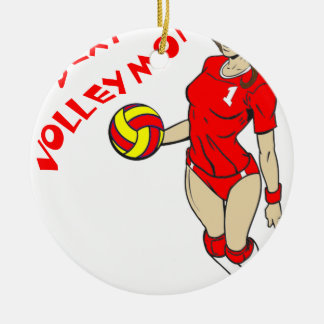 SEXY VOLLEY MOM ROUND CERAMIC ORNAMENT
