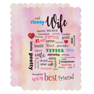 Sexy Wife Word Cloud Pink Watercolor Back Card