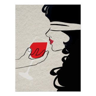 Sexy Woman Blindfolded Wine Tasting Poster