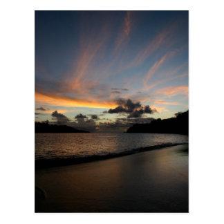 Seychelle Island sunset Postcard