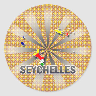 Seychelles Flag Map 2.0 Classic Round Sticker
