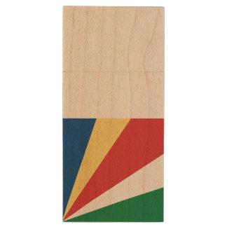 Seychelles Flag Wood USB Flash Drive