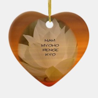 "SGI Buddhist Ornament: Lotus ""Nam Myoho Renge Kyo"" Ceramic Heart Ornament"