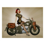 Sgt. Davidson Army Motorcycle Pinup Print